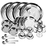 Royal Sapphire Stainless Steel Dinner Set of 24 Pieces (Glass, Curry Bowl, Desert Bowl, Spoon, Quarter Plate and Full Plate)