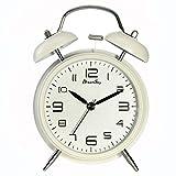 DreamSky(ドリームスカイ) 大音量 目覚まし時計 ベル 置き時計 アナログ 連続秒針 ナイトライト付 クオーツ アラームクロック(ホワイト)