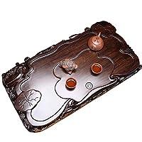 黒と黒檀のティートレイカンフーティーセット全体の純木のティートレイ家庭用ティーテーブル排水彫刻ティートレイ最高の贈り物 ティー用品 (Color : Brown, Size : 70x38x6cm)