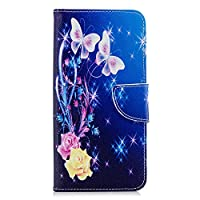 OMATENTI Galaxy A7 2018 ケース カード収納 おしゃれ 高級感 手帳型ケース 衝撃吸収 落下防止 防塵 人気 花柄カバー, マグネット開閉式 プロテクター Galaxy A7 2018 対応, 青い蝶-1