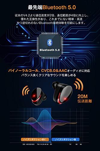 『【最先端Bluetooth5.0+EDRが搭載】Bluetooth イヤホン IPX7完全防水 95時間連続駆動 Hi-Fi高音質 3Dステレオサウンド CVC8.0ノイズキャンセリング&AAC8.0対応 自動ペアリング マイク付き 完全ワイヤレス イヤホン 両耳 左右分離型 タッチ式 マイク内蔵 ブルートゥース イヤホン 日本語音声提示 技適認証済 iPhone&Android対応 (ブラック) (ブラック) (ブラック)』の3枚目の画像