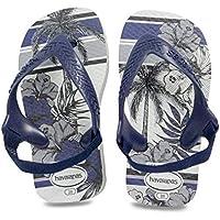 havaianas Baby Chic II White/Navy Blue Rubber Infant Flip Flops Sandals