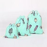 BIANHUAN 巾着 袋 (大 中 小 3点セット )おしゃれ かわいい 綿 リネン 旅行用収納バッグ おしゃれ 布 きんちゃく (3点セット(大1 中1 小1))