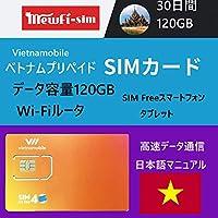 Vietnamobile 容量120GBベトナムプリペイドSIM 4G・3G 30日利用 データ