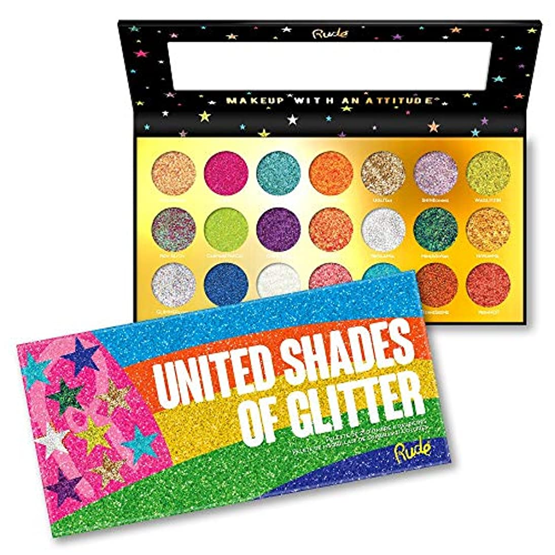 球状パートナーバックRUDE? United Shades of Glitter - 21 Pressed Glitter Palette (並行輸入品)