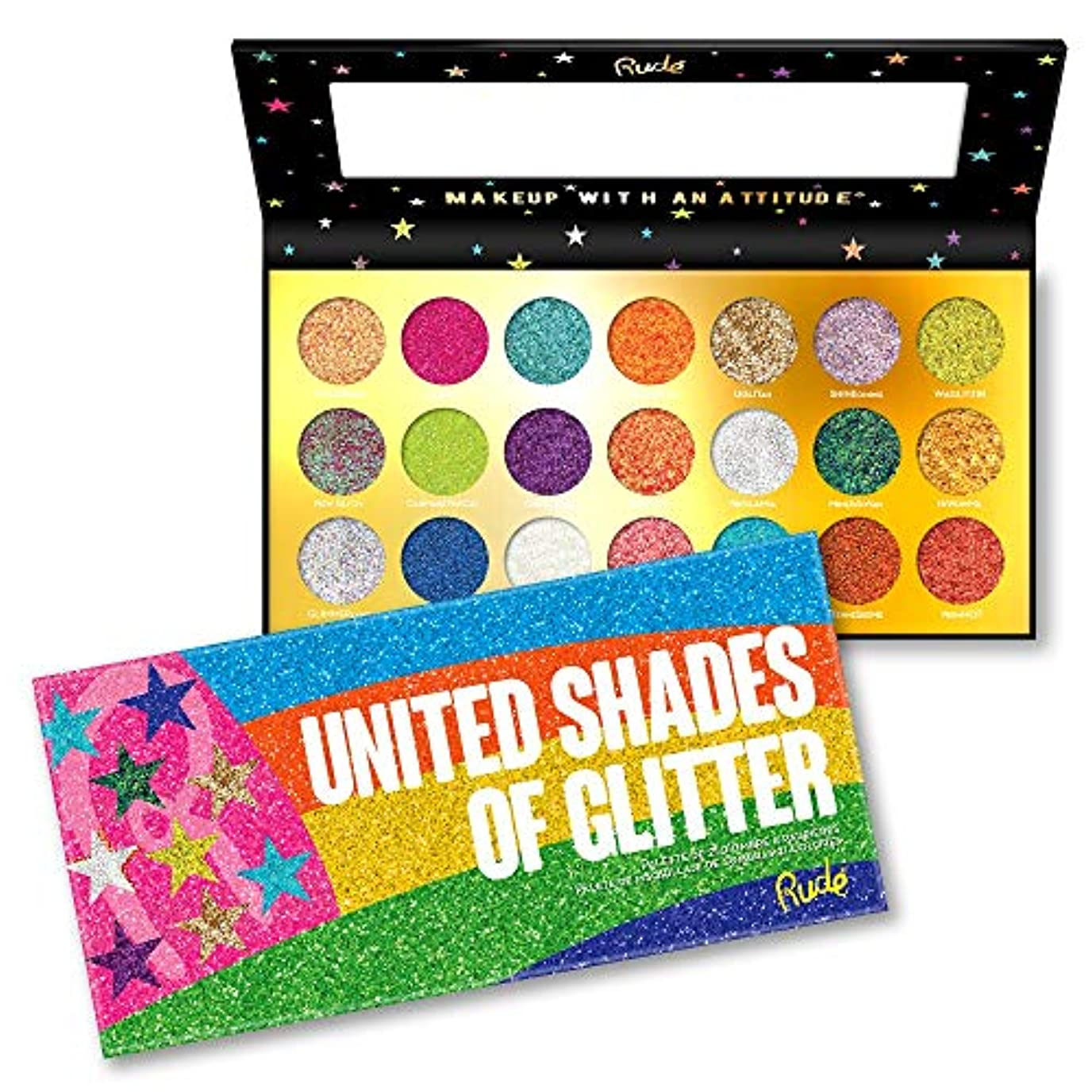 スローガン爆弾強化RUDE? United Shades of Glitter - 21 Pressed Glitter Palette (並行輸入品)