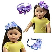 セットの2フラワーヘッドバンドfor dolls-ブルーとパープルフローラルヘッドバンドFits 18インチ人形