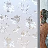 Flower PVC Frosted Opaque Glass Window Film Waterproof Adhesive Privacy Glass Sticker [並行輸入品]