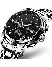男性用腕時計ファッション腕時計 3ATM合金ケース 夜光インデックスのポインター ミネラルHardlex水晶ガラス ステンレススチールバンド カレンダー窓 クオーツムーブメント 多機能腕時計