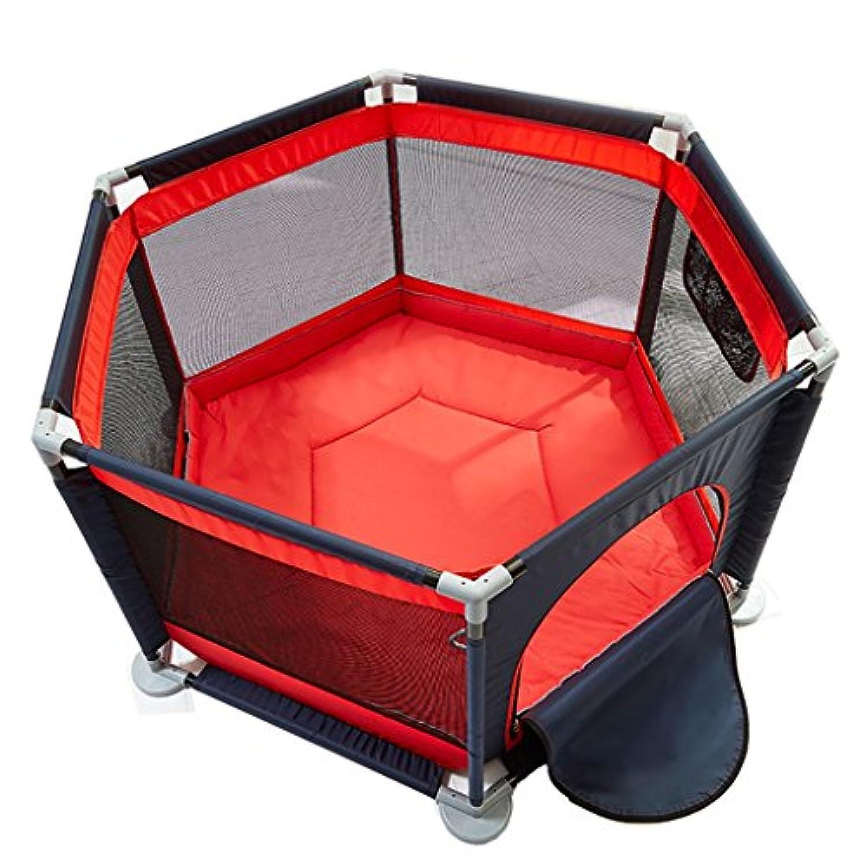 子供の遊び場のマット,おもちゃのテントベビーハウスPlay Yard安全保護フェンス、ブラウン、6パネル (色 : 赤)