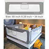 Goldenvalueable Vertical Collapsible Bed Rail Guard for Baby Toddlers and Kids (Grey) (One Side) (60 inch, Grey)