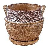 SPICE OF LIFE(スパイス) 植木鉢 編みかごプランター チャビー ブラウン Lサイズ 幅16.5cm 奥行15.5cm 高さ15cm CBGZ1023BR