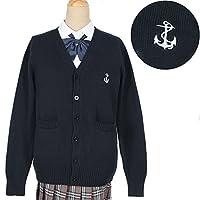 SHALYPOLY(シャリポリ) スクールカーディガン 制服 可愛い ゆったり ニット オールシーズン Vカーディガン 海軍風 刺繍 レディース (XL, ネイビー)
