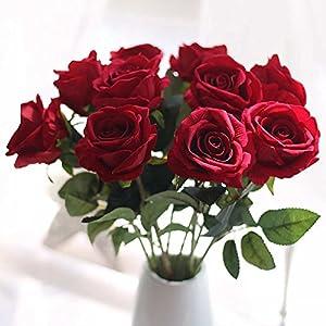 造花 バラ ローズブーケ(10本セット) 薔薇 花束 インテリア造花 アートフラワー 造花 プレゼント 枯れない シルク製 母の日ンプレゼント ギフト ローマンチック 結婚式 ホーム (濃い赤)