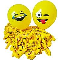 風船 Emoji 100個 12種絵文字ラテックス製 装飾バルーン 子供のおもちゃ 空気入れ