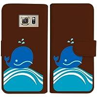 sslink SC-04G/SCV31/404SC GALAXY S6 edge ギャラクシー 手帳型 ブラウン ケース くじら クジラ マリン ダイアリータイプ 横開き カード収納 フリップ カバー