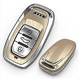 [NextBlue] アウディ Audi 専用 スマートキーケース リモコン キーカバー A4 S4 Q5 (ゴールド)