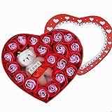 ローズ フラワー ソープ 20個セット 造花 薔薇 香り 石鹸 可愛い熊付き フラワーボックス ギフトボックス 結婚祝い 誕生日 卒業にプレゼント (レッド)