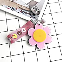 HuaQingPiJu-JP ミニ花の形を回転化粧鏡クリスタルピンクのための小さなガラスミラーピンク