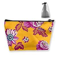紫の花の女性化粧品袋多機能トイレタリーオーガナイザーバッグ、ジッパー付き手ポータブルポーチ旅行洗浄保存容量(台形)