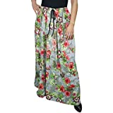 Women Bohemian Skirts Grey Rebecca Floral Printed Rayon Maxi Skirts Large
