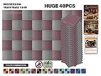 エースパンチ 新しい 40ピースセット ブルゴーニュとグレー 500 x 500 x 50 mm ピラミッド 東京防音 ポリウレタン 吸音材 アコースティックフォーム AP1034