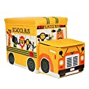 (Sppessn) 収納スツール おもちゃ箱 収納ボックス オットマン 子供 折りたたみ 大容量 フタ付き 列車(イエロー)