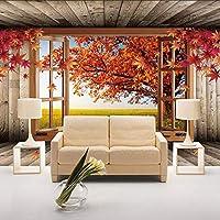 Xueshao カスタム3D壁壁画壁紙メープルツリー風景の壁紙リビングルームのソファテレビの背景寝室の壁家の装飾-280X200Cm