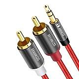 LINKINPERK、RCAオーディオケーブル、2つのRCAフォノYオーディオスプリッタケーブル、サラウンドサウンド、ドルビーデジタル、YスプリッタオーディオAUXケーブルへの3.5mmステレオジャック (2M, 赤)