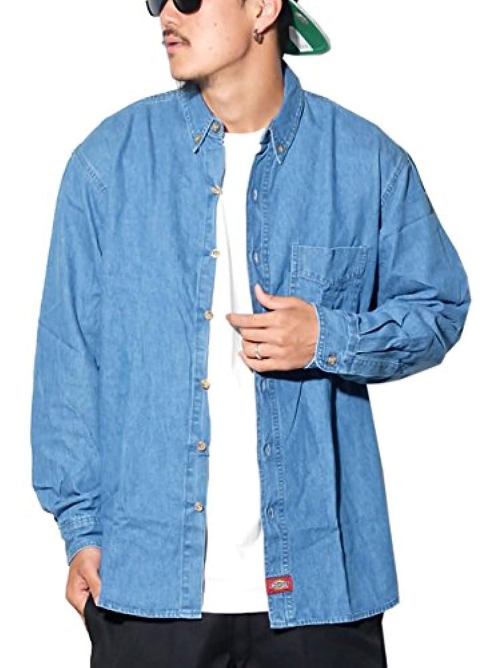 億拘束する気味の悪い(ディッキーズ) DICKIES デニムシャツ 大きいサイズ ボタンダウンシャツ WL300 [並行輸入品]