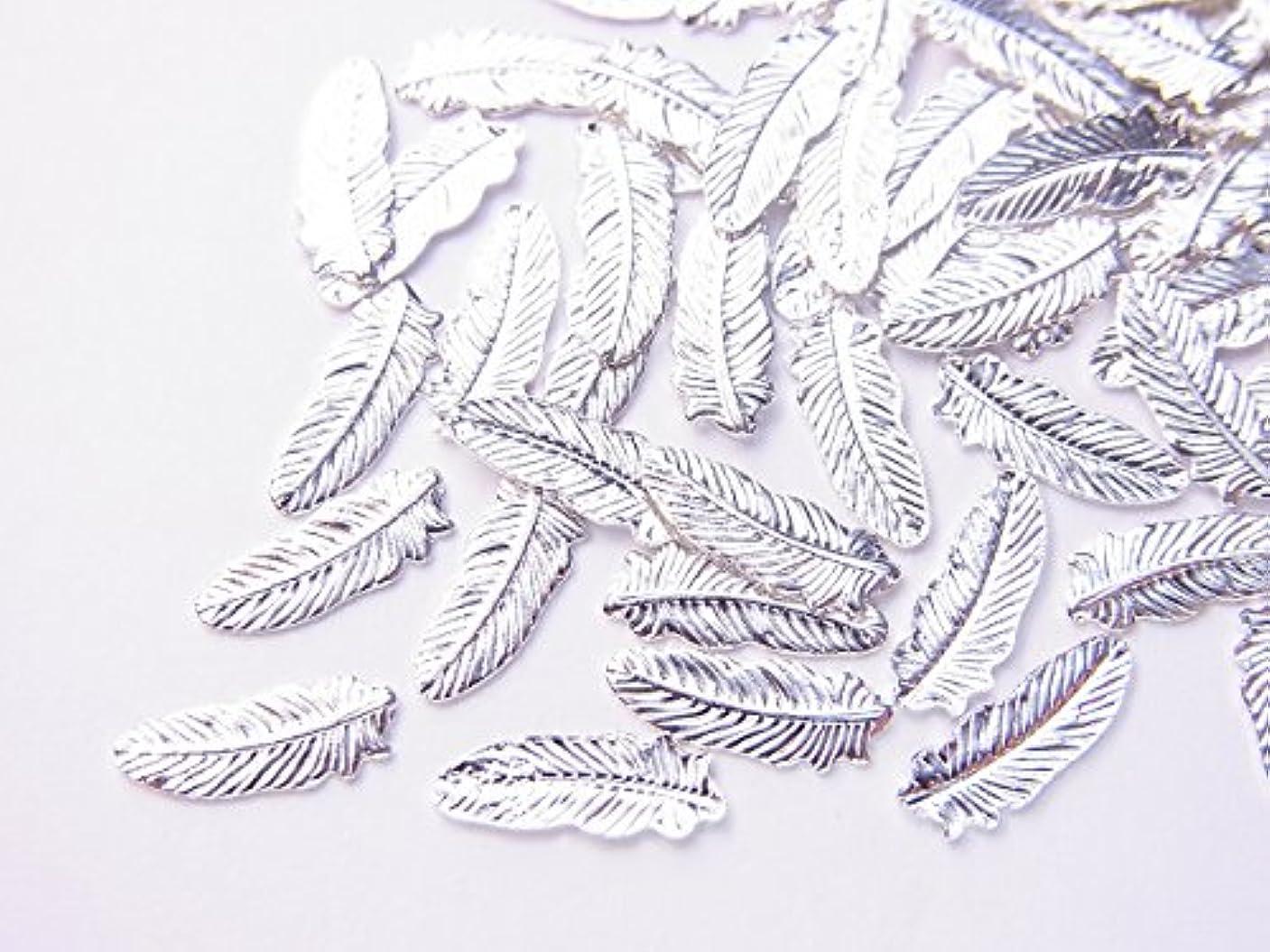 平行変装した過度の【jewel】薄型ネイルパーツ フェザー大 約8.2mm×3mm 10個入り シルバー 手芸 素材 アートパーツ デコ素材