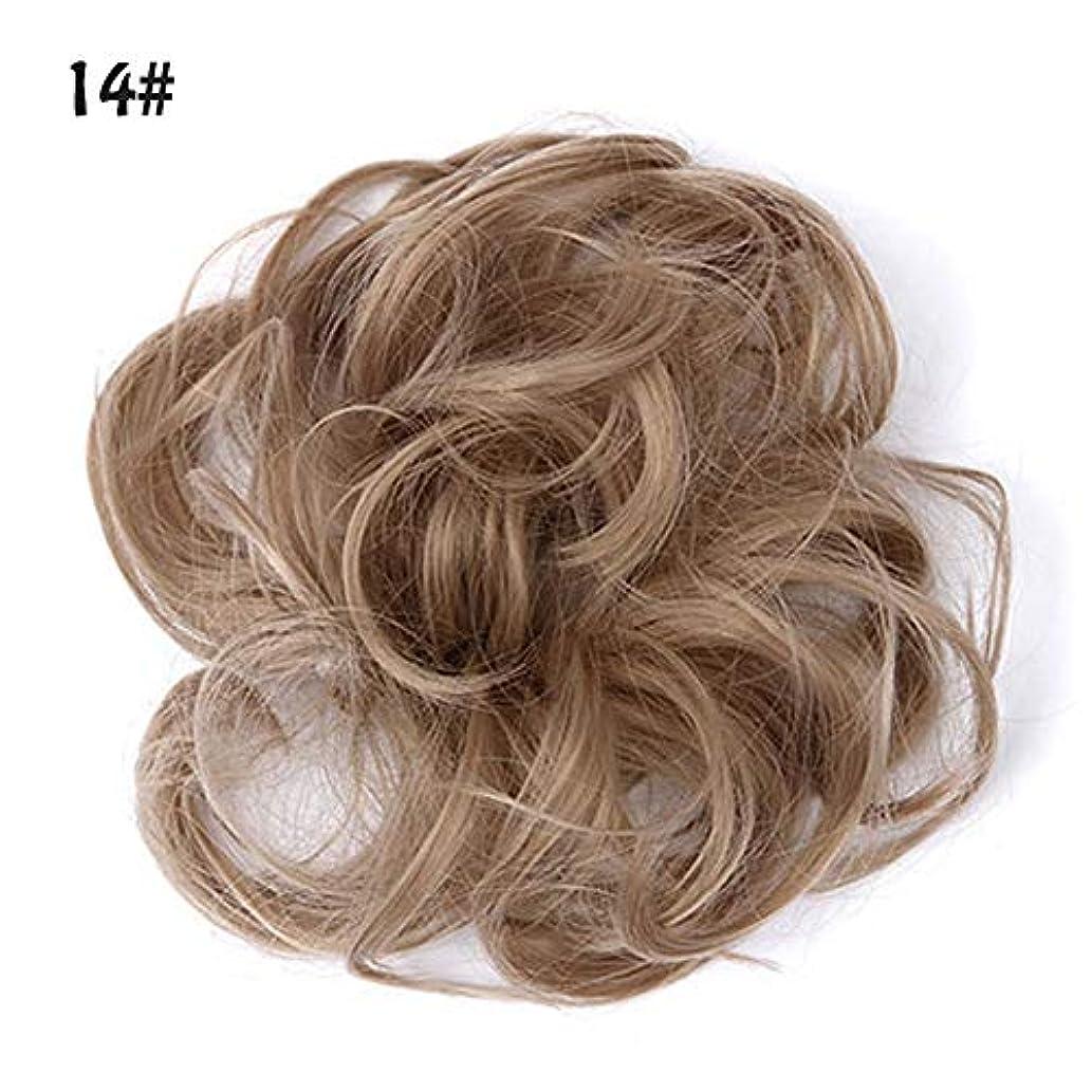 インタビュー移住するシャッター乱雑な髪のお団子シュシュの拡張機能、ポニーテールシニョンドーナツアップ、女性用カーリー波状リボンアクセサリー