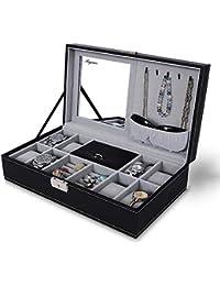 Anyasun ジュエリーボックス 鍵付き 腕時計収納ケース コレクションケース 腕時計 8本まで ウォッチ ジュエリー 小物ケース アクセサリーケース 鏡付き(Ays-1SS002)