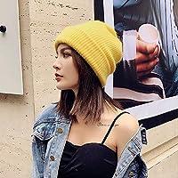 ニット帽子レディース秋冬ファッション潮冬 yellow