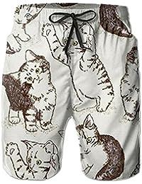 かわいい猫 メンズ サーフパンツ 水陸両用 水着 海パン ビーチパンツ 短パン ショーツ ショートパンツ 大きいサイズ ハワイ風 アロハ 大人気 おしゃれ 通気 速乾