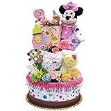 おむつケーキ 女の子 ディズニー ミニー マウス パンパース(S) 61枚3段 出産祝い ダイパーケーキ 内祝い
