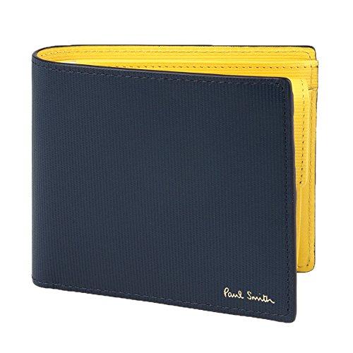 Paul Smith ポールスミス 国内正規品 ストライプエンボスIB 2つ折り財布 ブランド レザー ウォレット 本革 財布 (ネイビー)