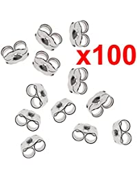 x100 earrings silver metal friction butterfly stud stoppers findings post back