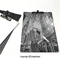 3 dパターンの クリップボード アルファベット 黒と白の装飾 答案用紙入れ シカゴのダウンタウンの夜の高層ビルの木の枝の装飾グレーブラックホワイト