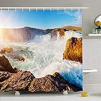 シャワーカーテン72x78インチゴージャスな素晴らしいシーン強力なゴダフォスカスケードの場所色自然素晴らしい公園大きな防水ポリエステルファブリックフック付きバスルームカーテンセット 165X180 CM