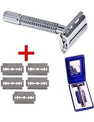 メンズ シェーバー 手動 ステンレス 5枚刃付き 収納ケース/鏡 (手動式)