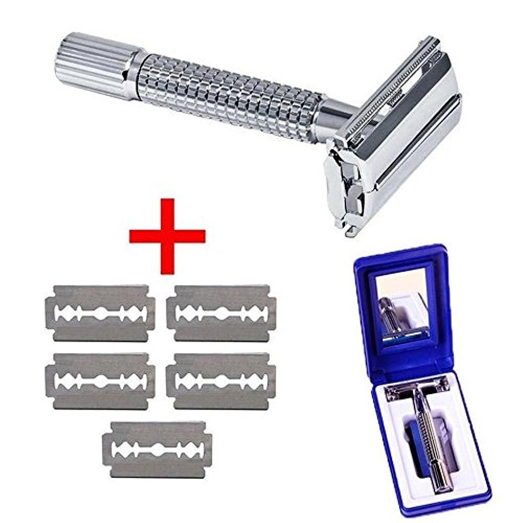 錆び軽減する許可するメンズ シェーバー 手動 ステンレス 5枚刃付き 収納ケース/鏡 (手動式)