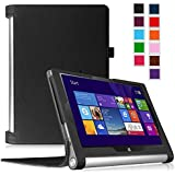 Fintie Lenovo YOGA Tablet 2 10 インチ 専用保護ケース 超薄型 軽量 スタンド型カバー 高級PU レザー オートスリープ機能 (ブラック)