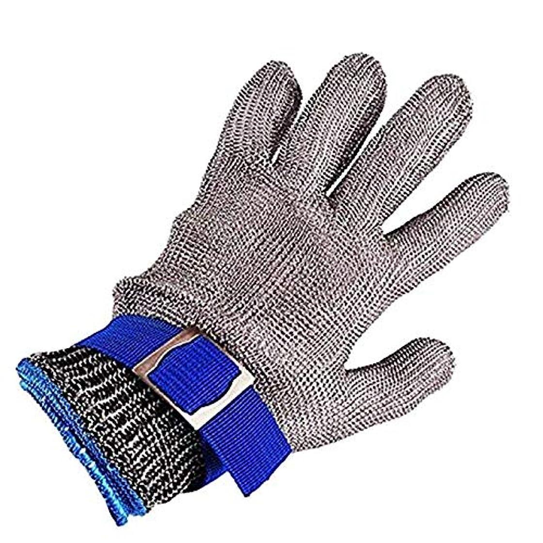 岩層検査官カット性手袋、つや消しステンレススチールワイヤーメッシュブッチャー安全作業手袋、レベル5カット保護食品グレードメタルチェーングローブ,S
