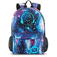 School Backpack Cool Unisex Canvas Anime Luminous Backpack with USB Cable & Lock & Pencil Bag