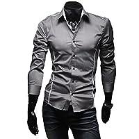 Tenflow メンズシャツ ワイシャツ Yシャツ ボタンダウン 長袖シャツ カジュアルシャツ スリム リゾートビーチ おしゃれ 030-xngf-5902(XXXL グレー)
