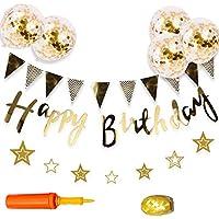 誕生日 飾り付け セット ガーランド 風船 HAPPY BIRTHDAY 華やか バースデー デコレーション きらきら風船 専用気筒付き ゴールド