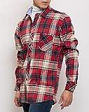 MATTHEW BROWNEE チェック シャツ 長袖 カジュアル ネルシャツ メンズ (日本サイズL(43) レッド)