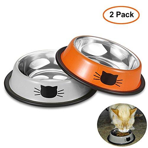 Iontek 犬 猫 小動物 皿 餌入れ フード ウォーター ボウル ペット用品 食器 227ml 2個セット(オレンジ&グレー)