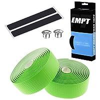 EMPT(イーエムピーティー) カーボン調ロード用 バーテープ ES-JHT020 EMPT クッション製に優れたEVA製カーボン調加工 バーテープ ロード ピスト ドロップハンドル対応 ※エンドキャップ、エンドテープ付属 カーボン調黄緑(グリーン)